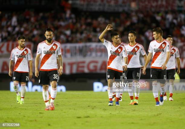 Lucas Alario Sebastian Driussi Gonzalo Martinez Ariel Rojas and Milton Casco of River Plate leave the field disappointed after a match between River...