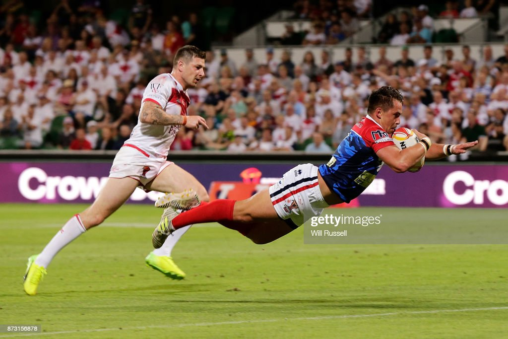 Lucas Albert of France scores a try which was overturned during the 2017 Rugby League World Cup match between England and France at nib Stadium on November 12, 2017 in Perth, Australia.