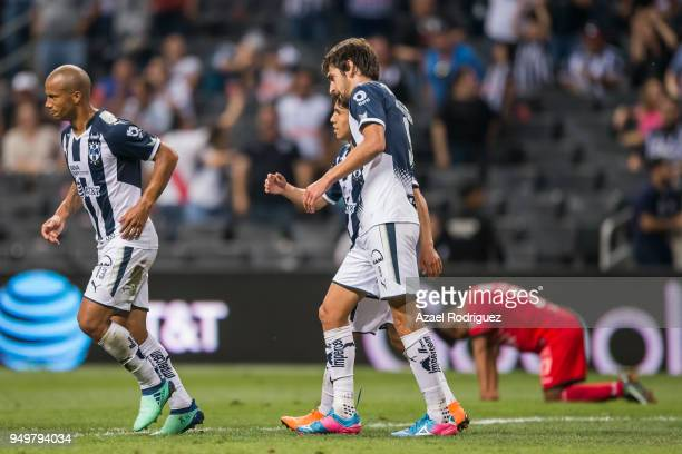 Lucas Albertengo of Monterrey celebrates with teammates after scoring his team´s fourth goal during the 16th round match between Monterrey and Lobos...