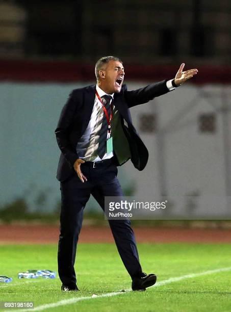 Lucas Alcaraz coach of the Algerian team during Friendly Match Algeria vs Guinea at the Mustapha Tchaker Stadium in Blida Algeria on 6 June 2017