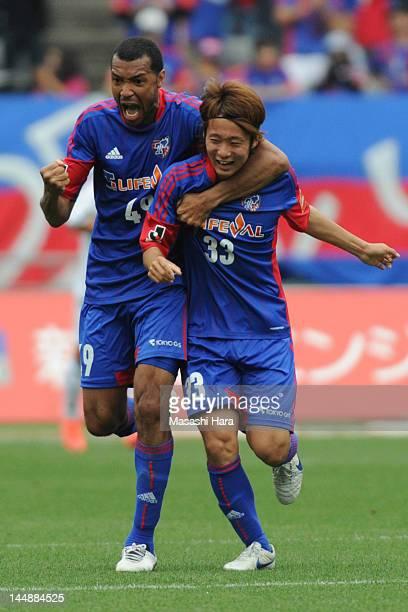 Lucas and Kenta Mukuhara of FC Tokyo celebrate the second goal during the JLeague match between Omiya FC Tokyo and Sagan Tosu at Ajinomoto Stadium on...