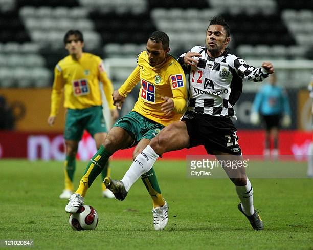 Lucas and Liedson during a Portuguese Bwin League 16th round match between Boavista and Sporting in Porto Portugal on January 28 2007