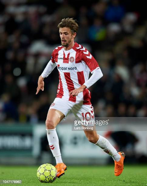 Lucas Andersen of AaB Aalborg controls the ball during the Danish Superliga match between AaB Aalborg and Brondby IF at Aalborg Portland Park on...