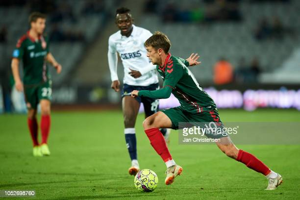 Lucas Andersen of AaB Aalborg controls the ball during the Danish Superliga match between AGF Arhus and AaB Aalborg at Ceres Park on October 21 2018...