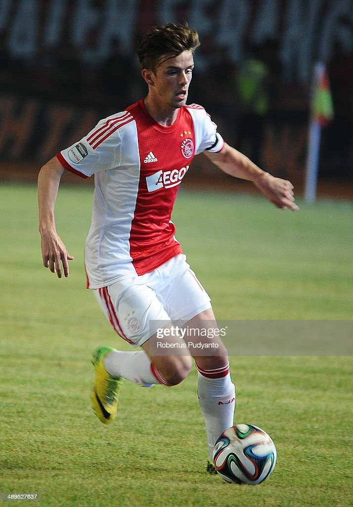 Lucas Andersen of AFC Ajax runs with the ball during the international friendly match between Perija Jakarta and AFC Ajax on May 11, 2014 in Jakarta, Indonesia. AFC Ajax win the game with score 3-0.