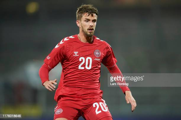 Lucas Andersen of Denmark in action during the international friendly match between Denmark and Luxembourg at Aalborg Portland Park on October 15,...