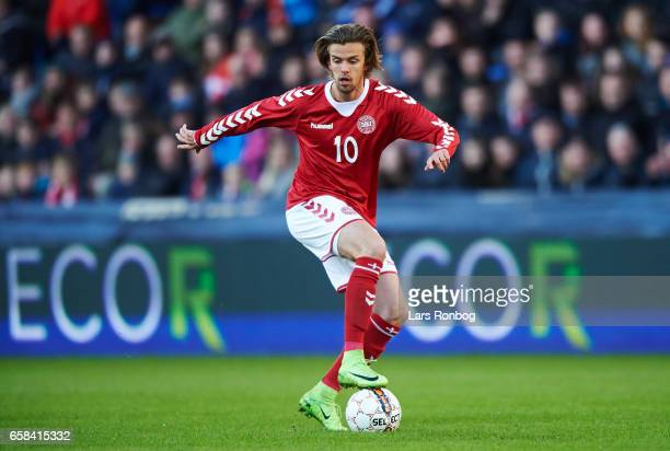 Lucas Andersen of Denmark U21 controls the ball during the U21 International friendly match between Denmark and England at BioNutria Park on March 27...