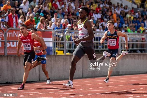 Lucas AnsahPeprah of Germany competes during 100m Men Round 1 on July 18 2019 in Boras Sweden