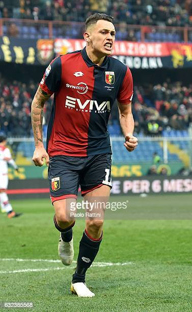 Lucas Ariel Ocampos of Genoa celebrating his goal during the Serie A match between Genoa CFC and FC Crotone at Stadio Luigi Ferraris on January 22...