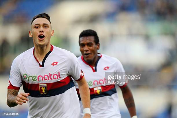 Lucas Ariel Ocampos of Genoa CFC celebrates after scoring the team's first goal during the Serie A match between SS Lazio and Genoa CFC at Stadio...