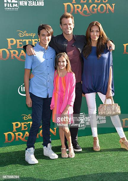 Lucas Arthur Mathison actor Cameron Mathison Leila Emmanuelle Mathison and Vanessa Arevalo attend the premiere of Disney's 'Pete's Dragon' at the El...