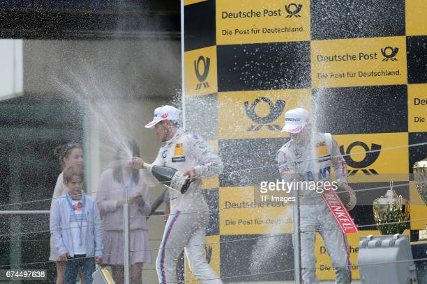 Lucas Auer Edoardo Mortara and Marco Wittmann celebrates winning the second race of the DTM 2016 German Touring Car Championship at Nuerburgring on...