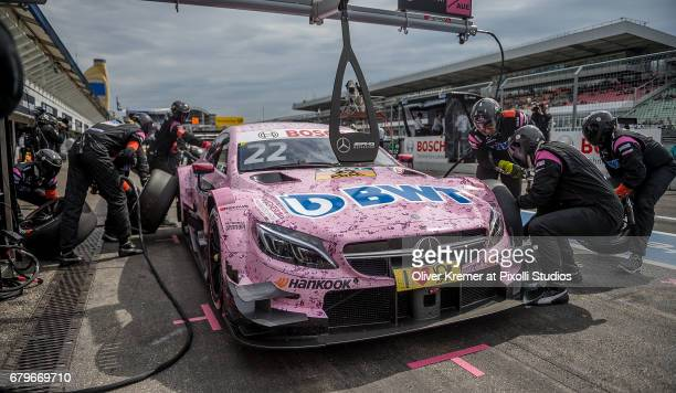 Lucas Auer of MercedesAMG DTM Team HWA at the pit stop during the DTM Race Session 1 at the Hockenheimring during Day 0 of the DTM German Touring Car...