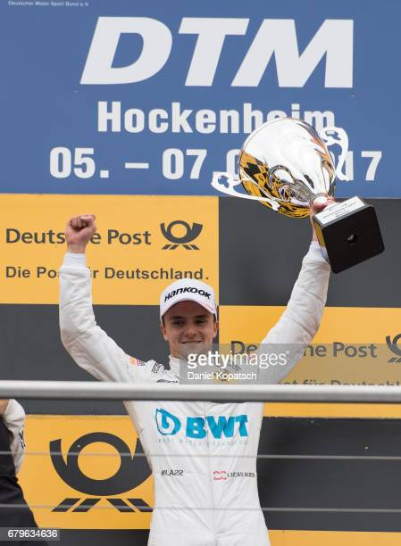 Lucas Auer of MercedesAMG Motorsport BWT celebrates with the trophy after winning race 1 of the DTM German Touring Car Hockenheim at Hockenheimring...
