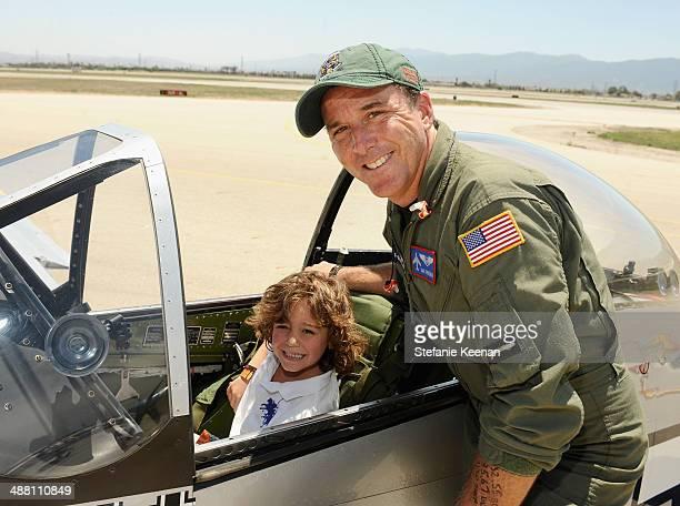 Lucas Bacardi Shriftman and pilot Dan Friedkin attend The Horsemen Flight Team Event Hosted By Dan Friedkin And Lauren Sanchez Whitesell sponsored by...