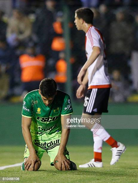 Lucas Bareiro of Defensa y Justicia looks dejected after scoring an own goal during a match between Defensa y Justicia and River Plate as part of...