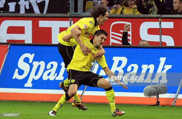 Lucas Barrios of Dortmund celebrates after he scores his team's 2nd goal during the Bundesliga match between Borussia Dortmund and FC Bayern Muenchen...