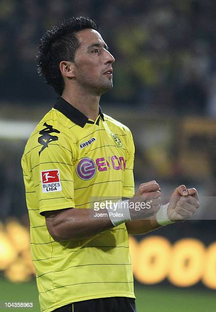 Lucas Barrios of Dortmund celebrates after scoring his team's fifth goal during the Bundesliga match between Borussia Dortmund and 1 FC...