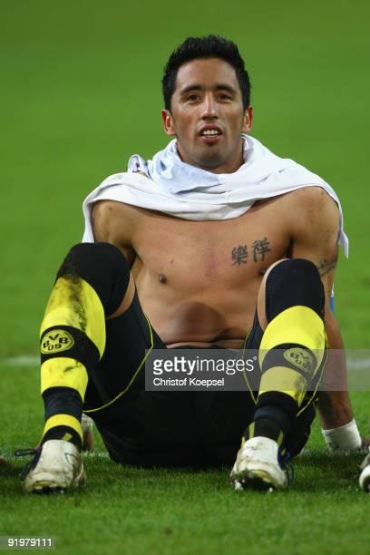 Lucas Barrios of Dortmund celebrates the 20 victory after the Bundesliga match between Borussia Dortmund and VfL Bochum at the Signal Iduna Park on...