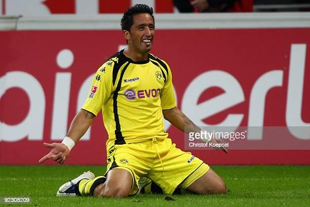 Lucas Barrios of Dortmund celebrates the first goal during the Bundesliga match between Bayer Leverkusen and Borussia Dortmund at the BayArena on...