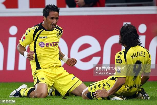 Lucas Barrios of Dortmund celebrates the first goal with Nelson Valdez of Dortmund during the Bundesliga match between Bayer Leverkusen and Borussia...