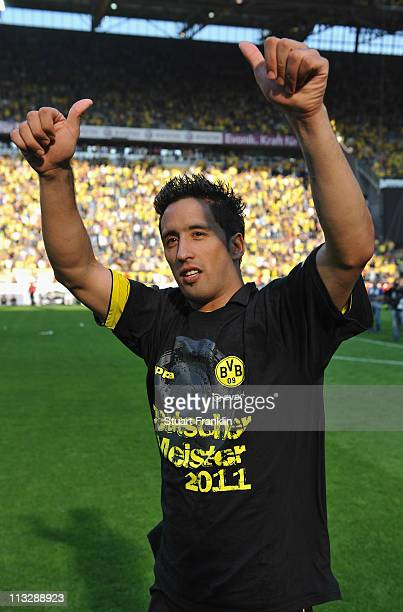 Lucas Barrios of Dortmund celebrates winning the league title at the end of the Bundesliga match between Borussia Dortmund and 1 FC Nuernberg at...