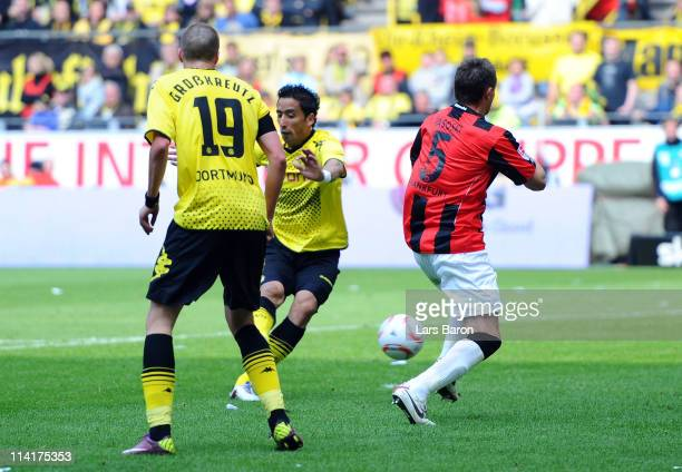 Lucas Barrios of Dortmund scores his teams first goal during the Bundesliga match between Borussia Dortmund and Eintracht Frankfurt at Signal Iduna...