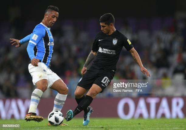 Lucas Barrios of Gremio and Victor Guzman of CF Pachuca during the FIFA Club World Cup UAE 2017 semifinal match between Gremio FBPA and CF Pachuca on...