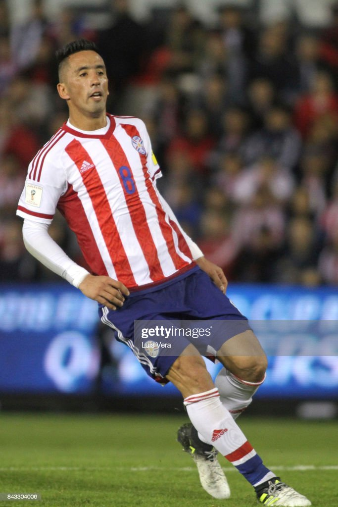 Lucas Barrios of Paraguay reacts after after missing a chance of goal during a match between Paraguay and Uruguay as part of FIFA 2018 World Cup Qualifiers at Defensores del Chaco Stadium on September 05, 2017 in Asuncion, Paraguay.