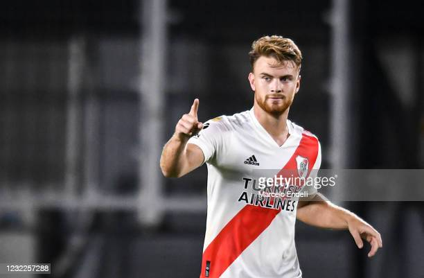 Lucas Beltran of River Plate celebrates after scoring the first goal of his team during a match between River Plate and Colon as part of Copa de la...