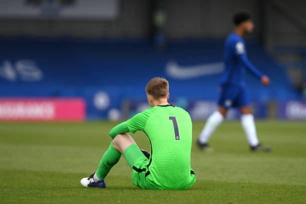 Lucas Bergstrom of Chelsea looks dejected following the FA Youth Cup Fourth round match between Chelsea and Everton at Kingsmeadow on April 15, 2021...