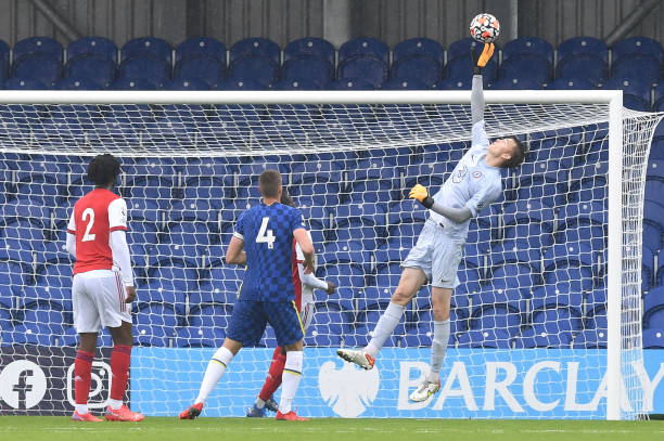 Lucas Bergstrom of Chelsea makes a save during the Chelsea v Arsenal Premier League 2 match on September 19, 2021 in London, England.