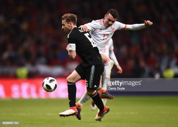 Lucas Bigila of Argentina is challenged by Iago Aspas of Spain during the International Friendly between Spain and Argentina on March 27 2018 in...