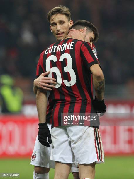 Lucas Biglia and Patrick Cutrone of AC Milan shows their dejection at the end of the serie A match between AC Milan and Atalanta BC at Stadio...