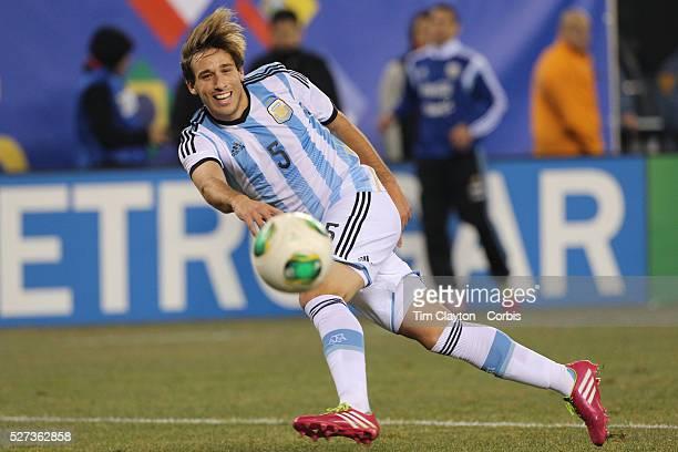 Lucas Biglia Argentina shoots during the Argentina Vs Ecuador International friendly football match at MetLife Stadium New Jersey USA 15th November...