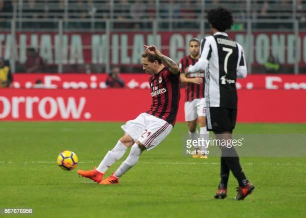 Lucas Biglia during Serie A match between Milan v Juventus in Milan on October 28 2017