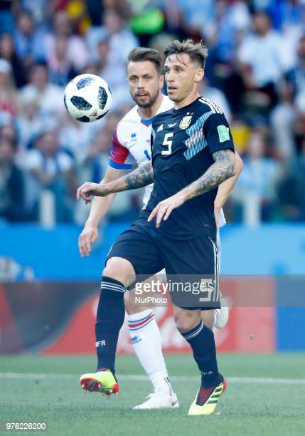 Lucas Biglia during the 2018 FIFA World Cup Russia group D match between Argentina and Iceland at the Spartak Stadium on June 16 2018 in Moscow Russia