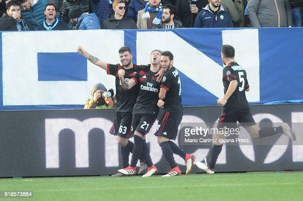Lucas Biglia of AC Milan celebrates after scoring his team's third goal during the serie A match between Spal and AC Milan at Stadio Paolo Mazza on...