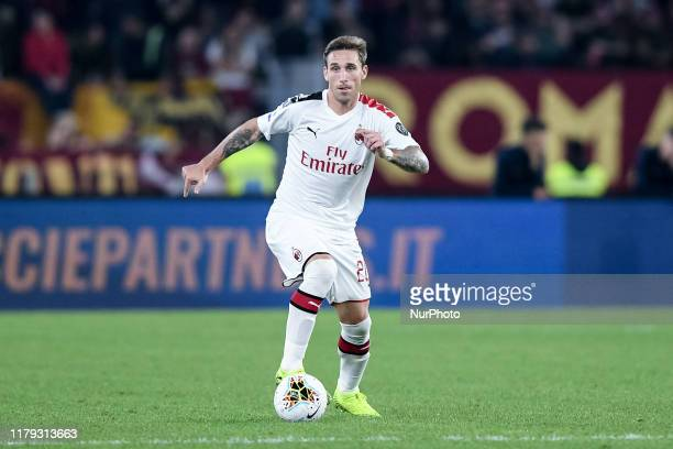 Lucas Biglia of AC Milan during the Serie A match between AS Roma and AC Milan at Stadio Olimpico, Rome, Italy on 27 October 2019.