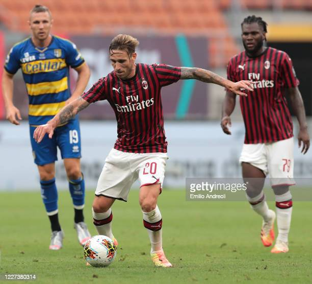 Lucas Biglia of AC Milan in action during the Serie A match between AC Milan and Parma Calcio at Stadio Giuseppe Meazza on July 15, 2020 in Milan,...