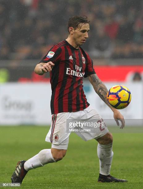 Lucas Biglia of AC Milan in action during the serie A match between AC Milan and FC Crotone at Stadio Giuseppe Meazza on January 6 2018 in Milan Italy