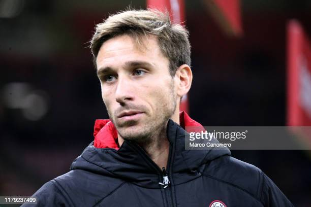 Lucas Biglia of Ac Milan looks on before during the the Serie A match between Ac Milan and Spal. Ac Milan wins 1-0 over Spal.