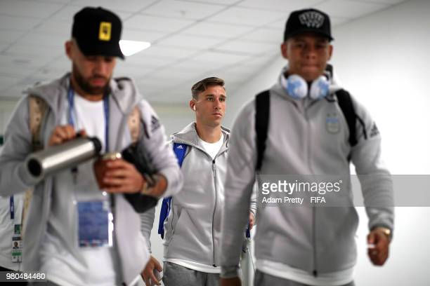 Lucas Biglia of Argentina arrives at the stadium prior to the 2018 FIFA World Cup Russia group D match between Argentina and Croatia at Nizhny...