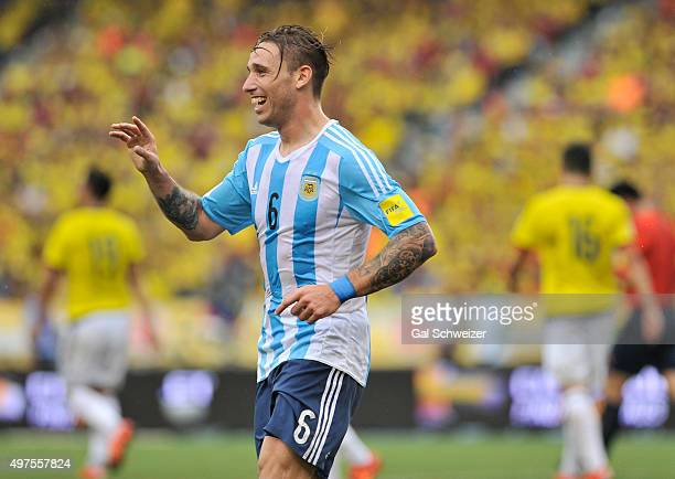 Lucas Biglia of Argentina celebrates after scoring the opening goal during a match between Colombia and Argentina as part of FIFA 2018 World Cup...