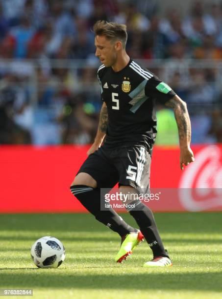 Lucas Biglia of Argentina controls the ball during the 2018 FIFA World Cup Russia group D match between Argentina and Iceland at Spartak Stadium on...