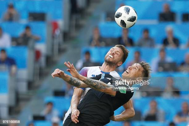 Lucas Biglia of Argentina in action against Kari Arnason of Iceland during the 2018 FIFA World Cup Russia Group D match between Argentina and Iceland...