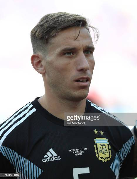 Lucas Biglia of Argentina is seen during the 2018 FIFA World Cup Russia group D match between Argentina and Iceland at Spartak Stadium on June 16...