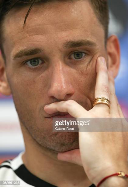 Lucas Biglia of Argentina looks on during a press conference at Stadium of Syroyezhkin sports school on June 24 2018 in Bronnitsy Russia