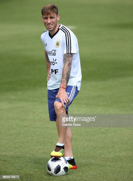 Lucas Biglia of Argentina looks on during a training session at Stadium of Syroyezhkin sports school on June 27 2018 in Bronnitsy Russia