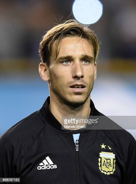 Lucas Biglia of Argentina looks on prior to a match between Argentina and Peru as part of FIFA 2018 World Cup Qualifiers at Estadio Alberto J Armando...